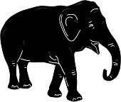 Black elephant, doodle by hand isolated on white bacground. Vector