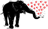 Black elephant, red heart, doodle by hand isolated on white bacground. Vector