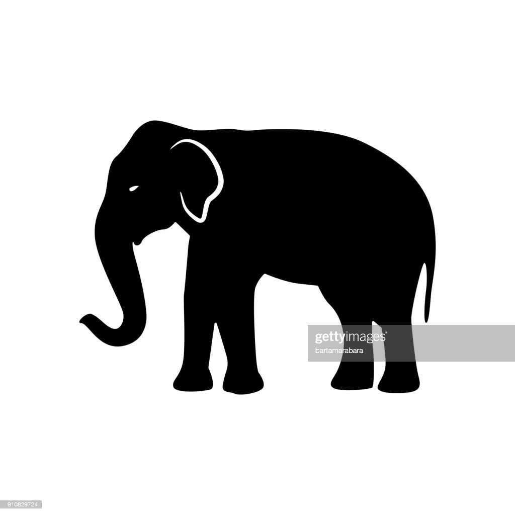 Black elephant silhouette. Vector