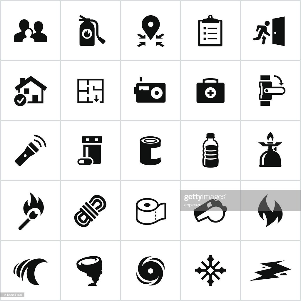 Black Emergency Preparedness Icons