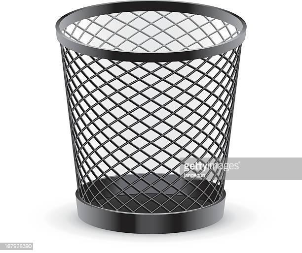 black empty metal mesh trash can - wastepaper basket stock illustrations, clip art, cartoons, & icons