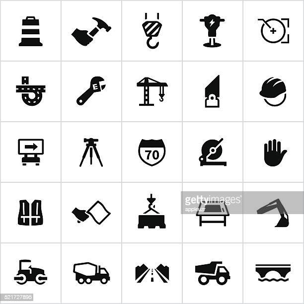 black engineering and construction icons - reflective clothing stock illustrations