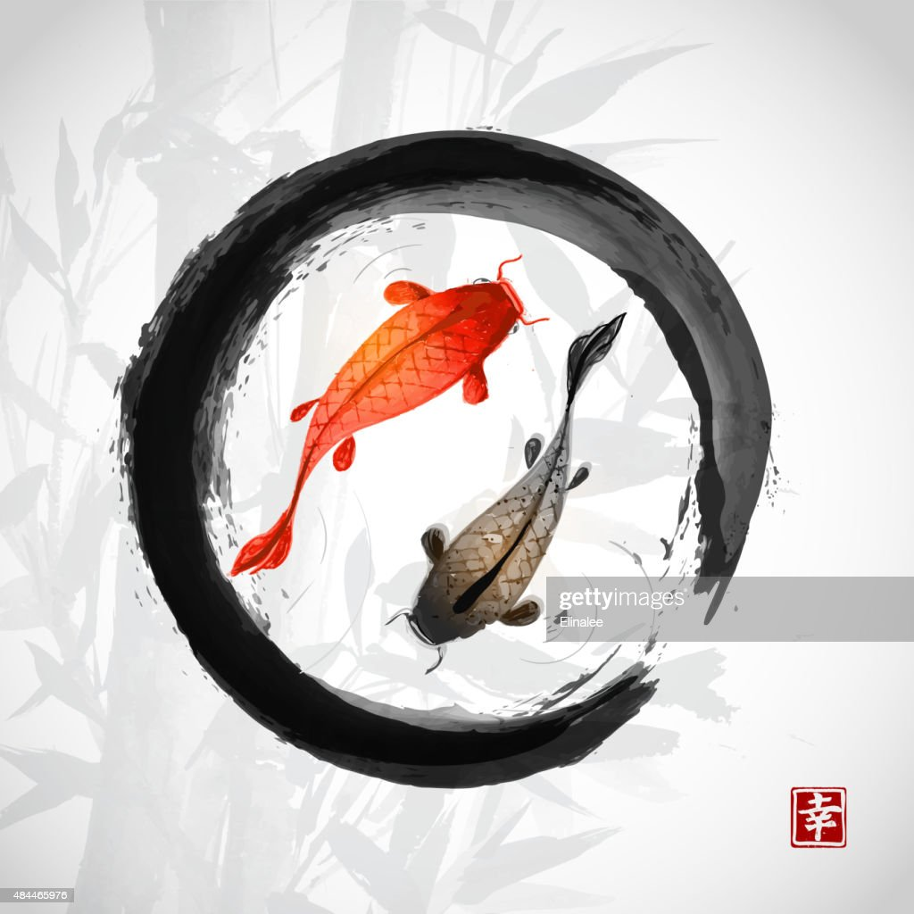Black enso zen circle with red and black fishes
