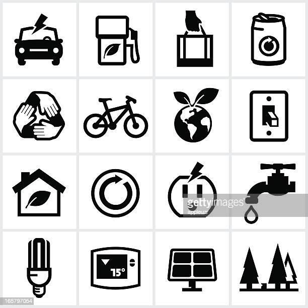 ilustraciones, imágenes clip art, dibujos animados e iconos de stock de iconos ambientales negro - vehículo eléctrico