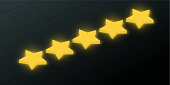Black excellent rating background with five gold stars.