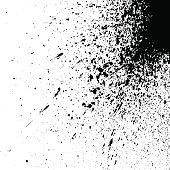 black explosion paint splatter. Small drops, spots isolated on white background. Spray stains