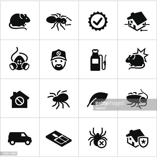 black exterminator icons - pests stock illustrations