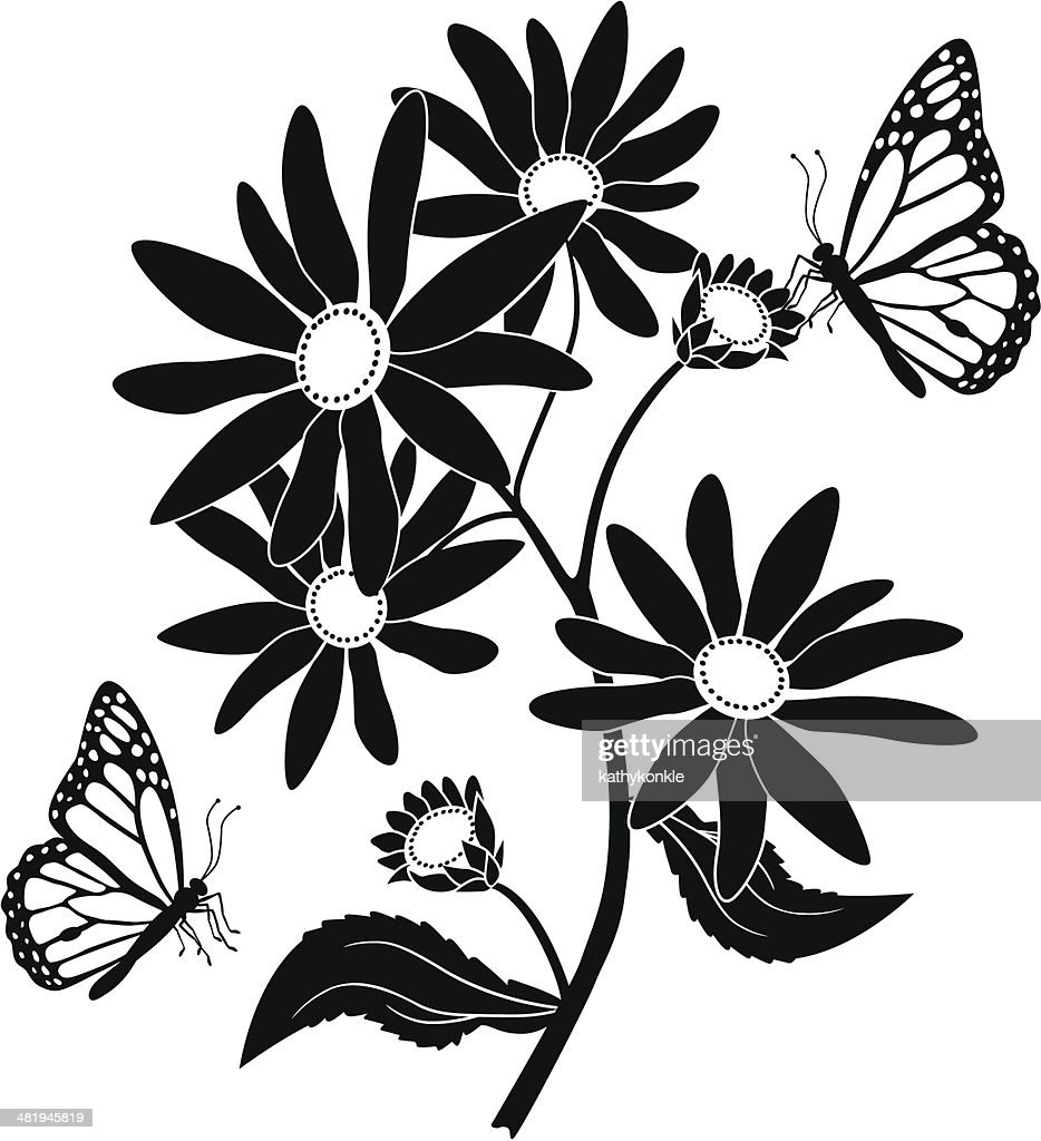 black eyed Susan and monarch butterflies