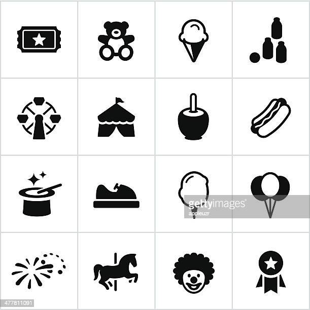 black fair icons - tent stock illustrations, clip art, cartoons, & icons