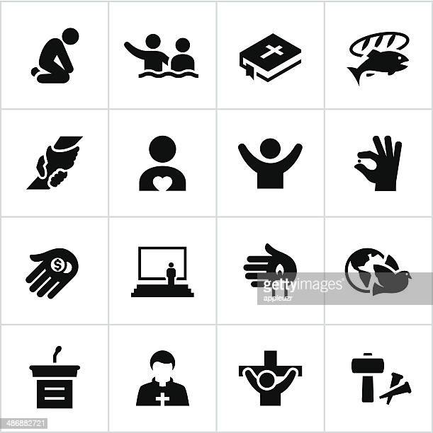 black faith icons - religious icon stock illustrations, clip art, cartoons, & icons