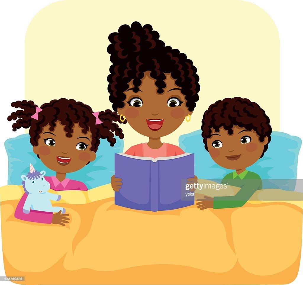 black family reading story