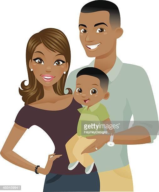 ilustrações, clipart, desenhos animados e ícones de preto família - família