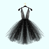 Black fancy dress for special event with decor.