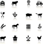 Black Farm Icon Set