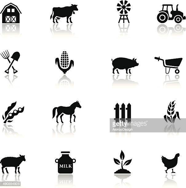 Black Farm Icon Set