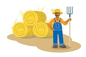 Black farmer man standing with pitchfork flat illustration