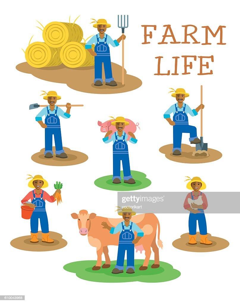 Black farmers men and women working on farm