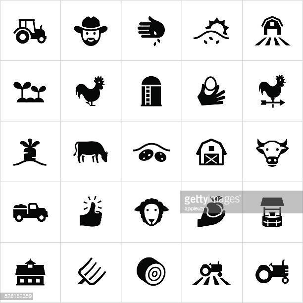 black farming and agriculture icons - cow stock illustrations