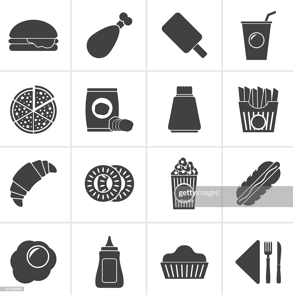 Black fast food and drink icons