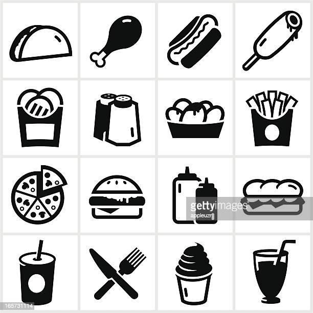 black fast food icons - nachos stock illustrations