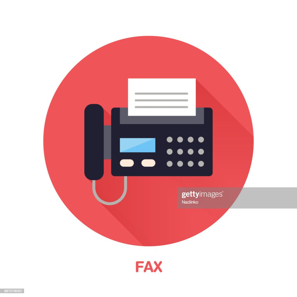 Black fax phone with paper page flat style icon. Wireless technology, office equipment sign. Vector illustration of communication devices for electronics store