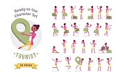 Black female tourist character set, various poses and emotions