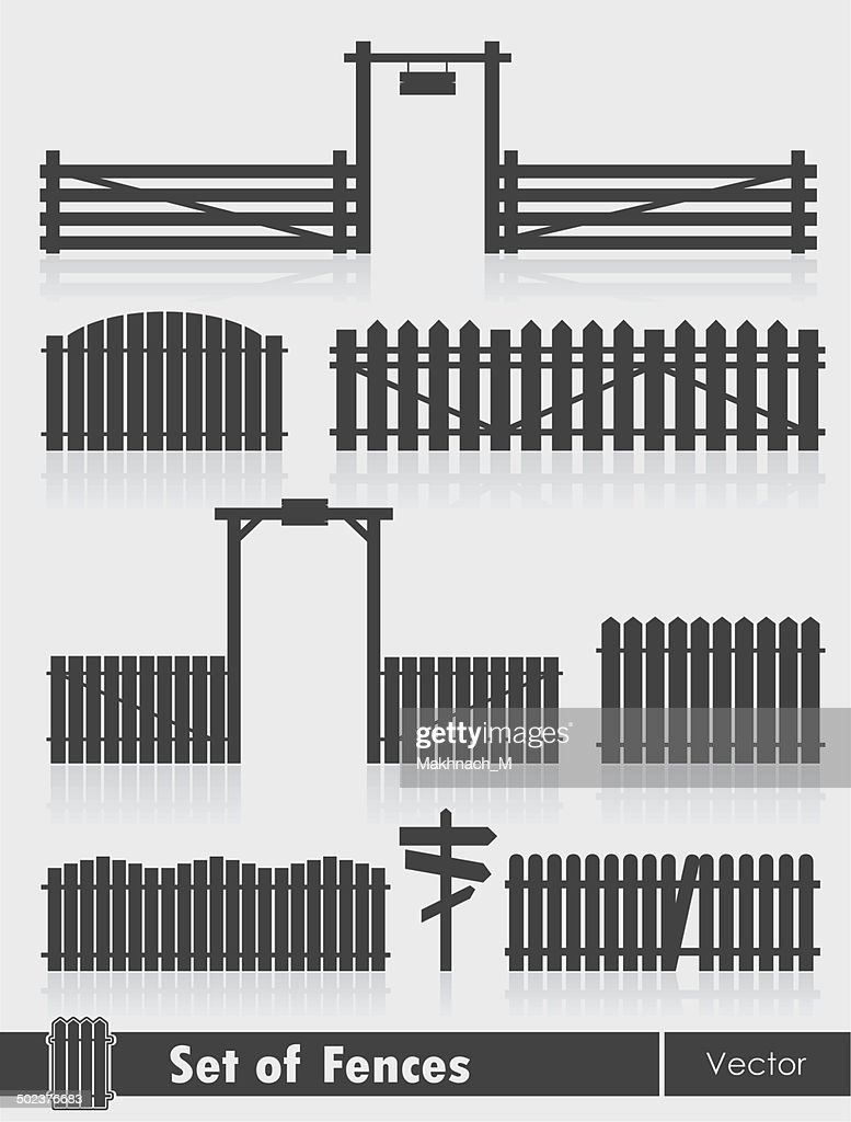 Black fences with gate isolated over grey background