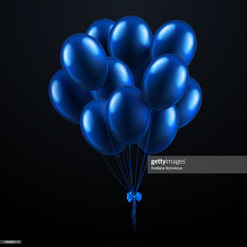 Black festive card with blue realistic 3d balloons.