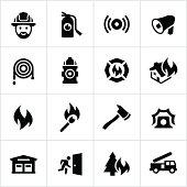 Black Firefighting Icons