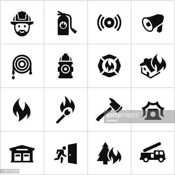 Black Firefighting Icons