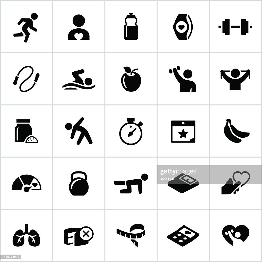 Black Fitness and Exercise Icons