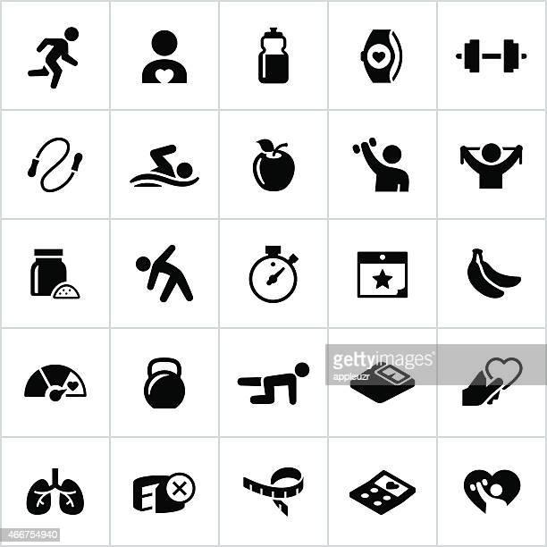ilustraciones, imágenes clip art, dibujos animados e iconos de stock de negro iconos de ejercicios y gimnasio - entrenamiento de fuerza
