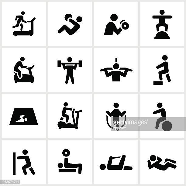 black fitness icons - weight training stock illustrations