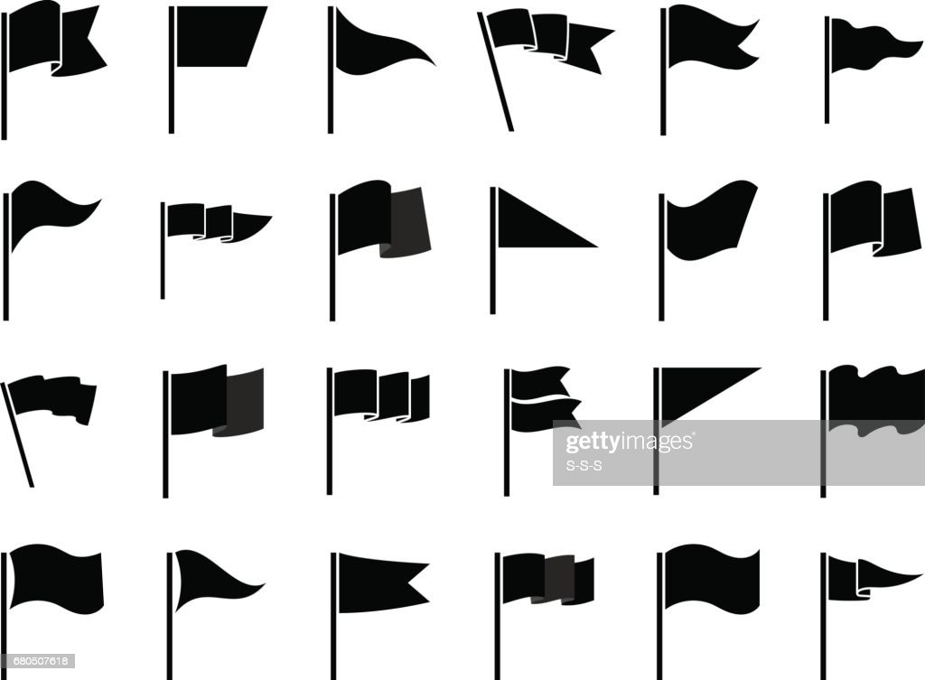 Black flags icons for infographic