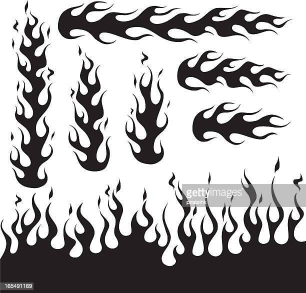 black flame design decals - tribal art stock illustrations