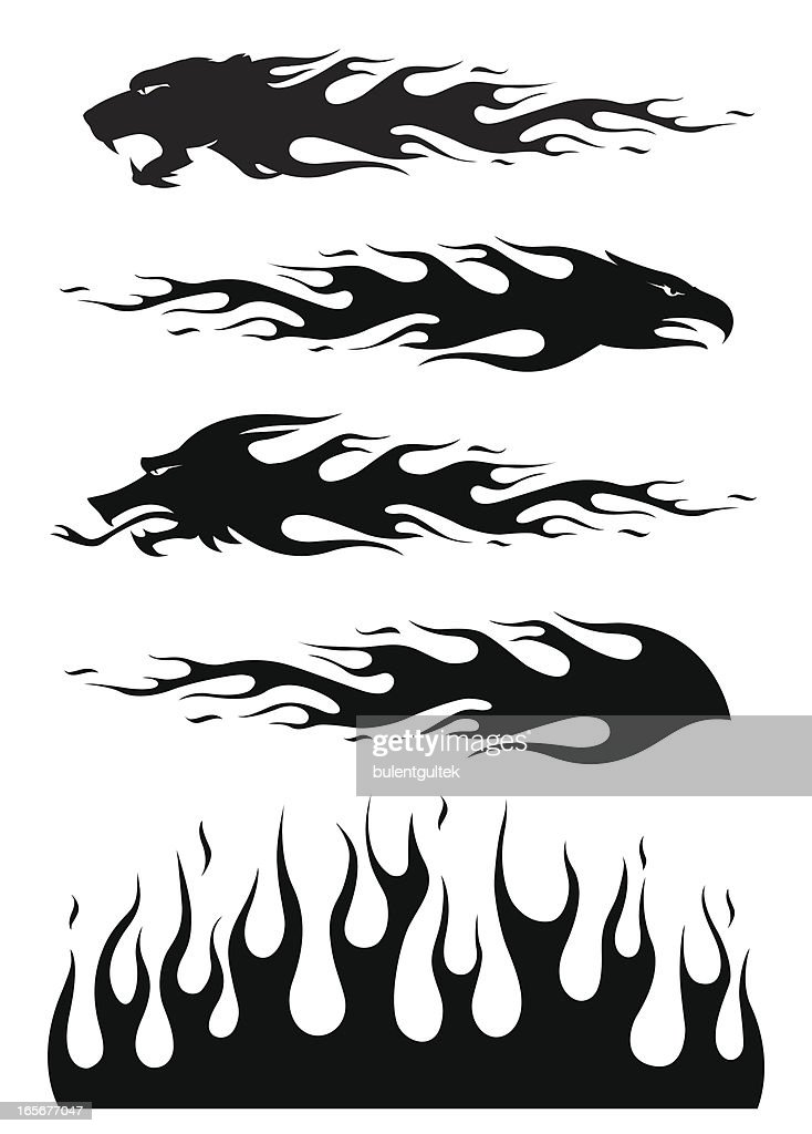 black flames : stock illustration