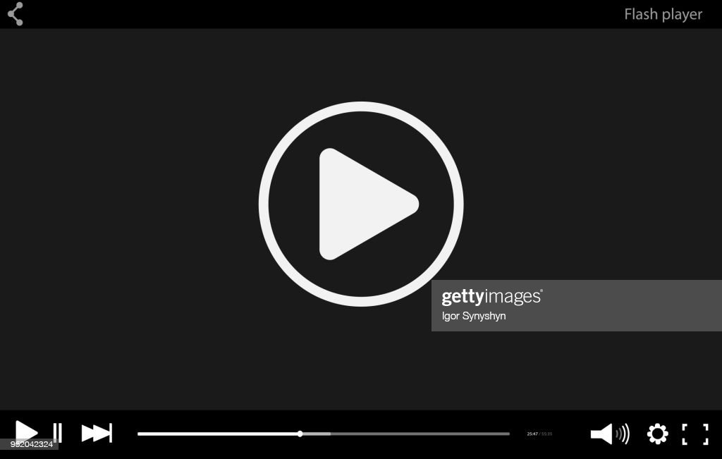 Black flat Video player bar template for your design. Trendy Minimal Flash interface in social style. Modern vector illustration for web site and app.