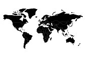 Black flat world map silhouette. Simplified controur. Vector illustration