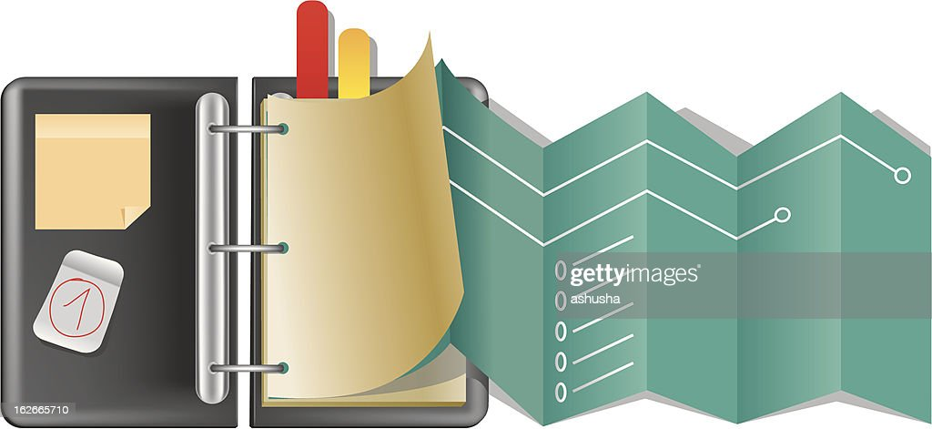 Black folder with colorful bookmarks icon