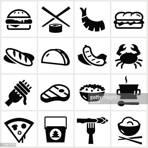 black food type icons - chopsticks stock illustrations, clip art, cartoons, & icons