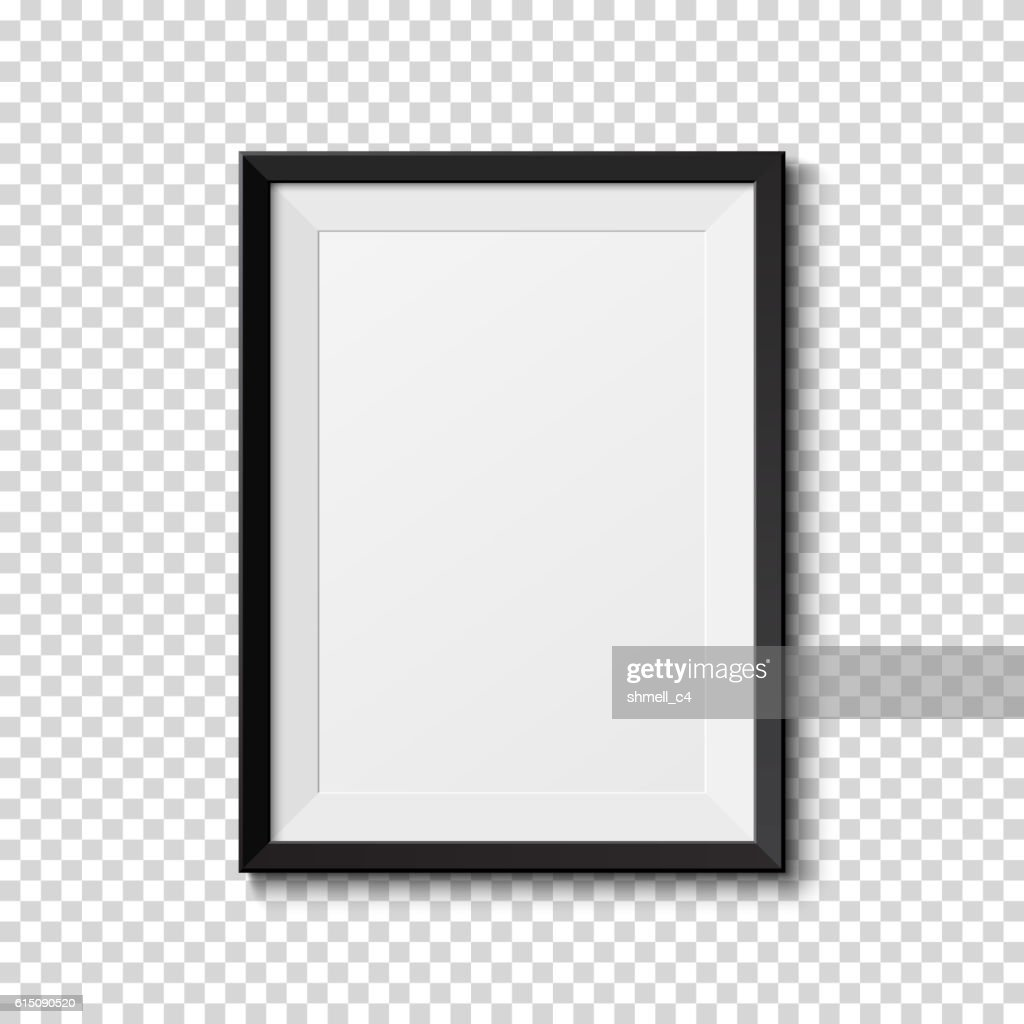 Black frame isolated on transparent background.