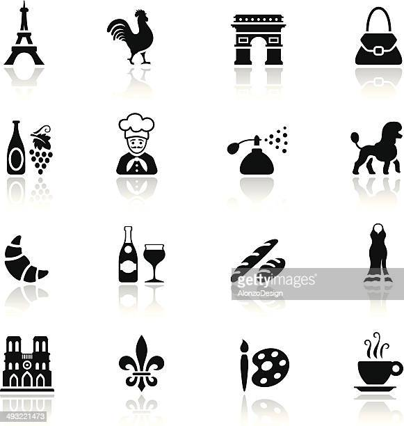 black france icon set - france stock illustrations