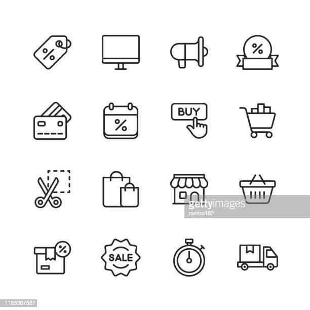 black friday and shopping icons. editable stroke. pixel perfect. for mobile and web. contains such icons as black friday, e-commerce, shopping, store, sale, credit card, deal, free delivery, discount. - store stock illustrations