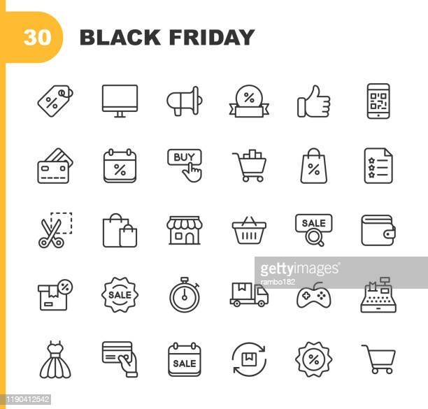 black friday and shopping icons. editable stroke. pixel perfect. for mobile and web. contains such icons as black friday, e-commerce, shopping, store, sale, credit card, deal, free delivery, discount. - retail stock illustrations