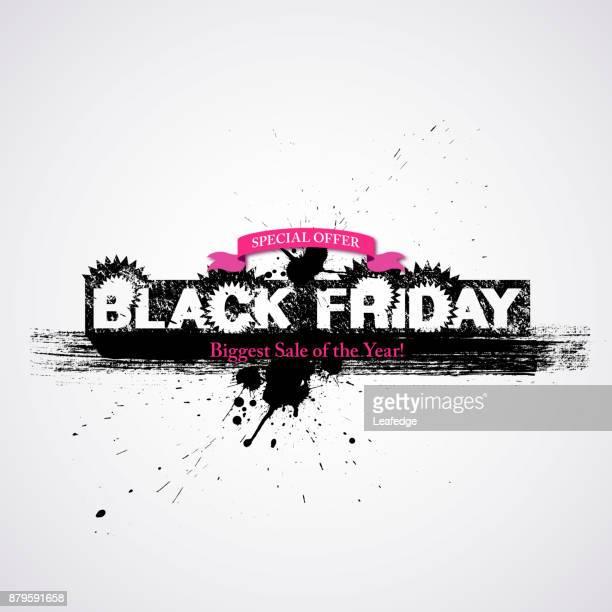 black friday background [brush stroke ink poster] - friday stock illustrations, clip art, cartoons, & icons