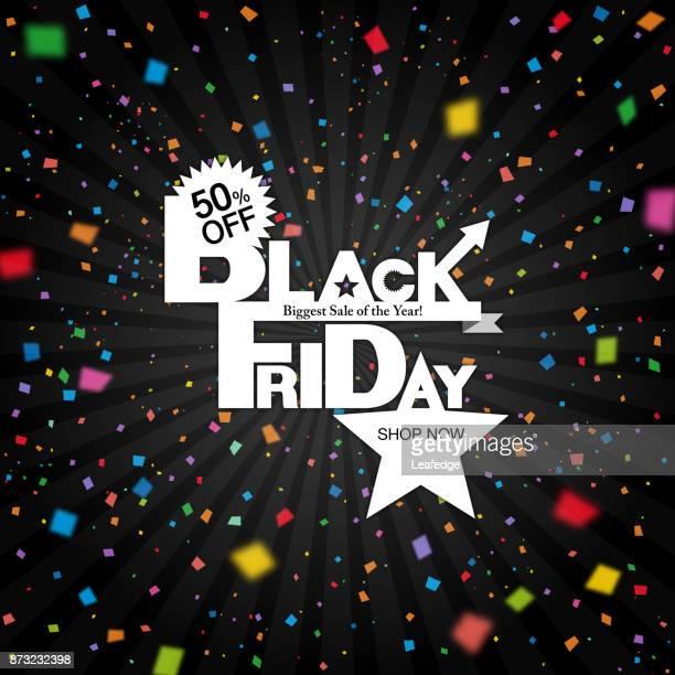 black friday background [confetti falling] - friday stock illustrations, clip art, cartoons, & icons