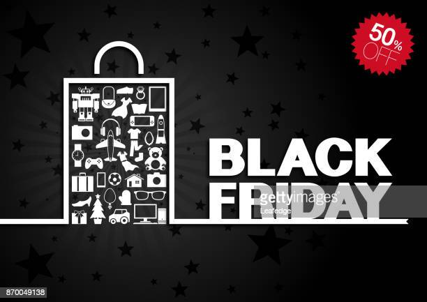 Black Friday background [Goods in paper bag]