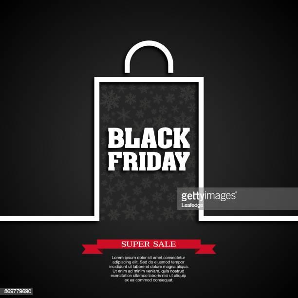 ilustraciones, imágenes clip art, dibujos animados e iconos de stock de fondo negro del viernes [los copos de nieve en bolsa de papel] - black friday