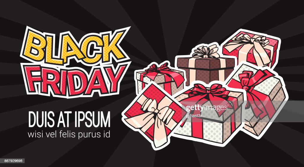 Black Friday Banner Design With Present And Gift Boxes On Background Shopping Template Poster With Copy Space Concept