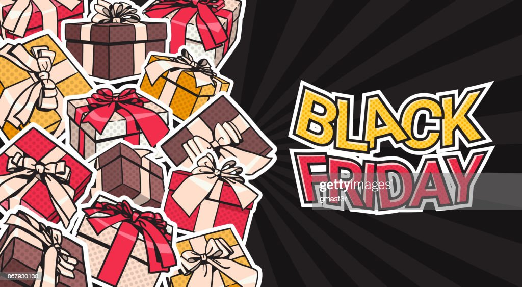 Black Friday Banner Design With Present And Gift Boxes On Background Shopping Poster Concept